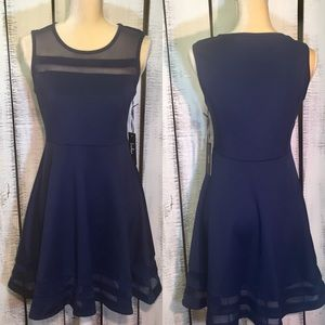 Lulu's Navy Blue Flare Sheer Detail Dress Size M